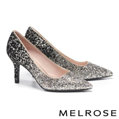 高跟鞋 MELROSE 華麗璀璨絢彩金蔥尖頭高跟鞋-黑