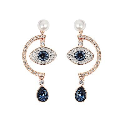 SWAROVSKI 施華洛世奇 珍珠璀璨藍色之眼水滴造型 玫瑰金垂墜耳環