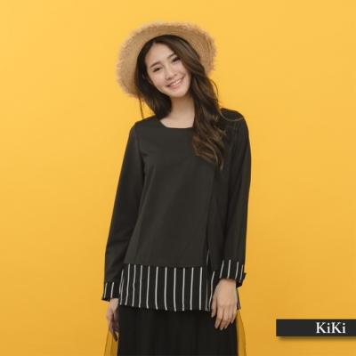 【KiKi】簡約直紋長袖-襯衫(二色)