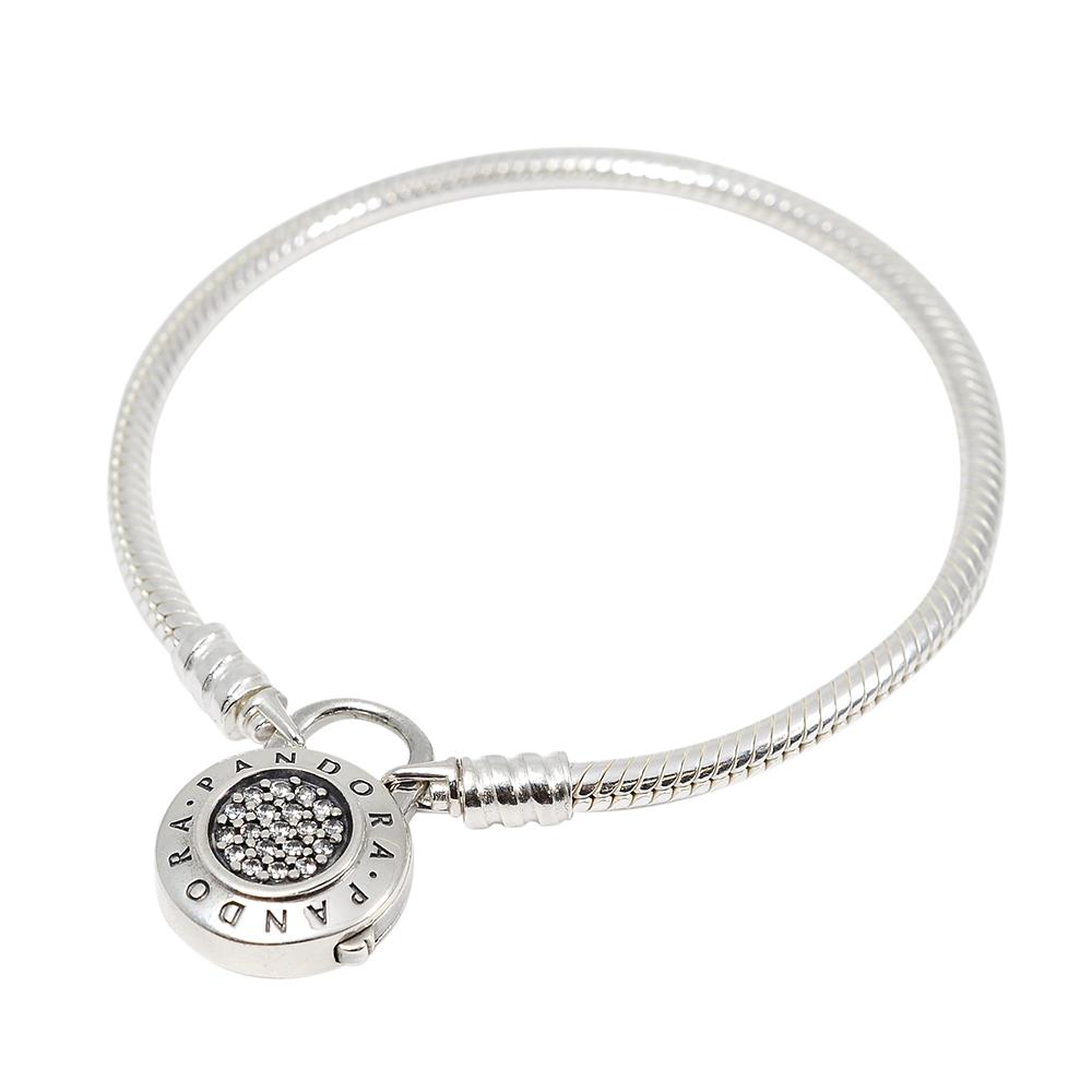Pandora 潘朵拉 圓形標誌鑲鋯釦環 蛇環純銀手鍊手環