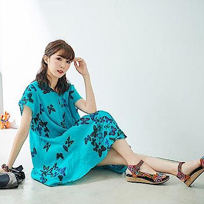 潘克拉 蝴蝶印花長版洋裝- 藍