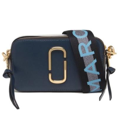 MARC JACOBS Snapshot 防刮牛皮品牌字母LOGO織帶相機包(深藍色)