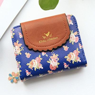 iSPurple 薔薇花園 日系清新皮革短夾 藍