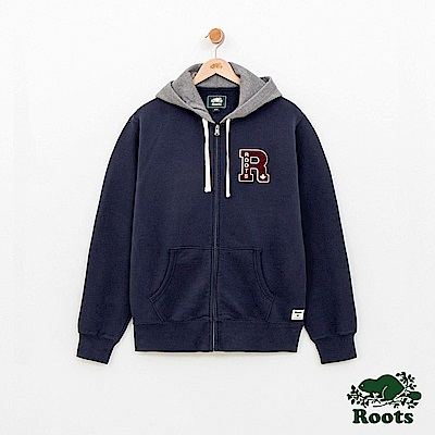 Roots 男裝-左胸文織字母連帽外套-藍色