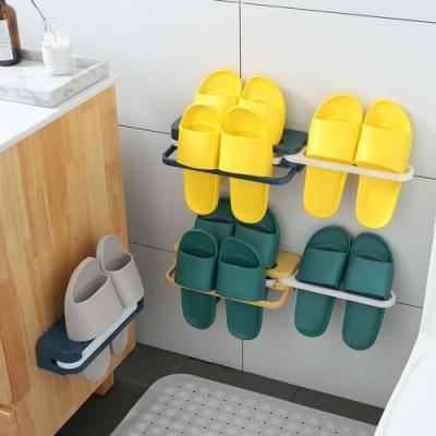 一變四折疊鞋架(隱藏收納版) 免打孔無痕壁掛鞋架 多功能毛巾架/轉角置物架