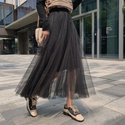 La Belleza鬆緊腰素色拼接點點網紗砰砰長紗裙大擺裙