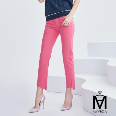 麥雪爾 MA棉質純色不規則口九分褲