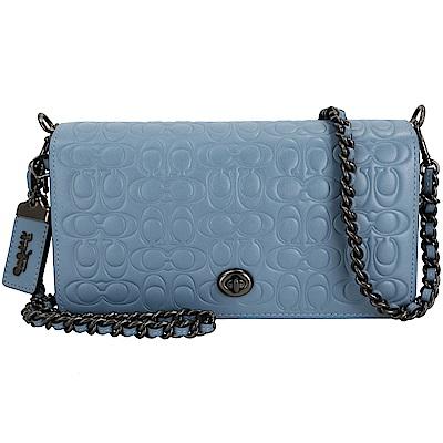 COACH Dinky CC 壓紋小牛皮祖母釦內袋鍊帶肩背包(文青藍/展示品)