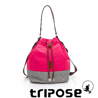 tripose 漫遊系列岩紋玩色束口水桶包 桃紅