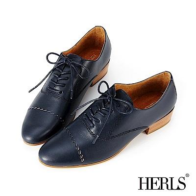 HERLS 女紳品味 全真皮斜線鏤空牛津鞋-深藍色