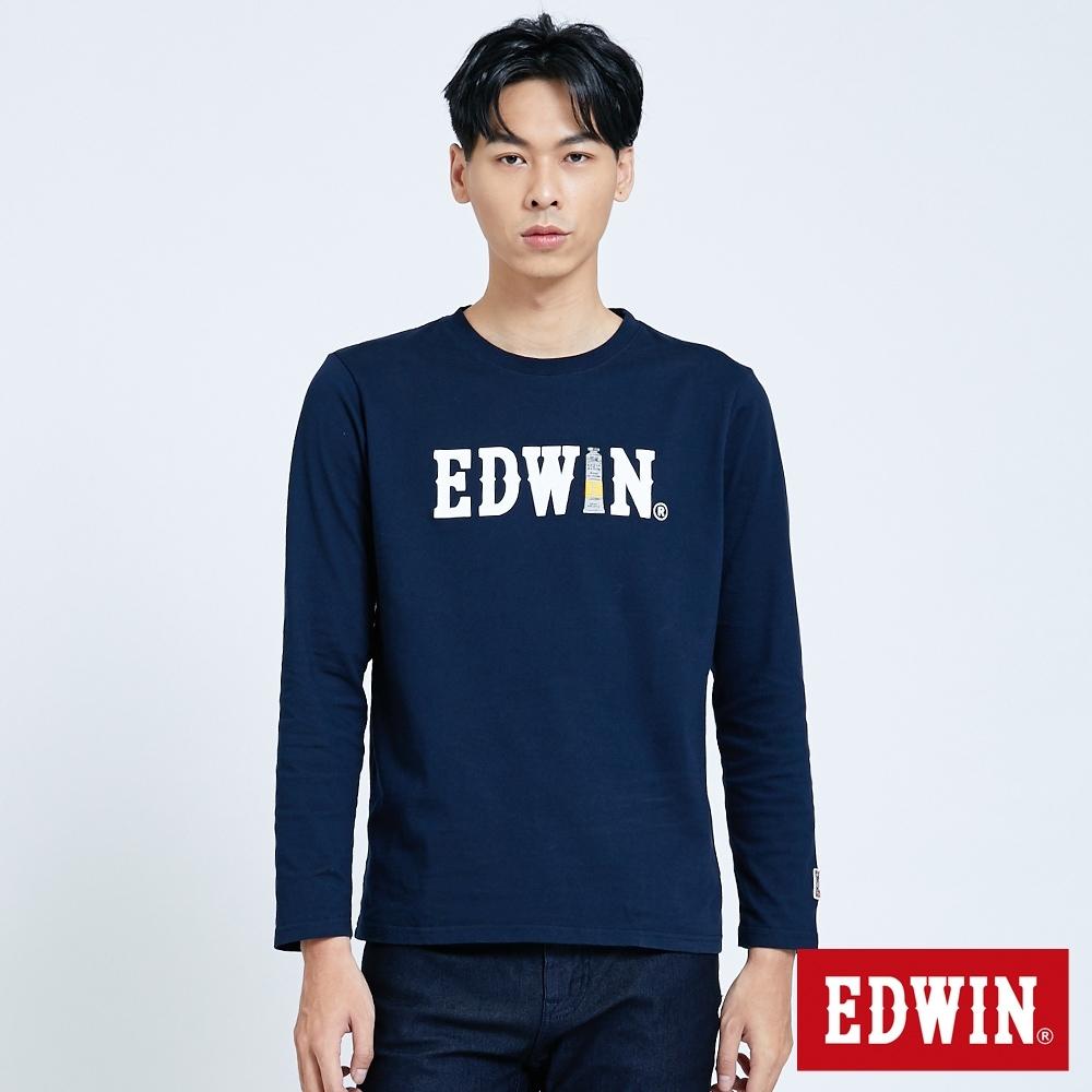 EDWIN 塗鴉LOGO 薄長袖T恤-男-丈青