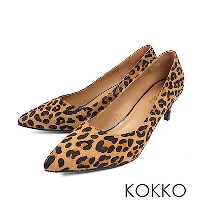 KOKKO - 風華再現素面尖頭高跟鞋 - 豹紋棕