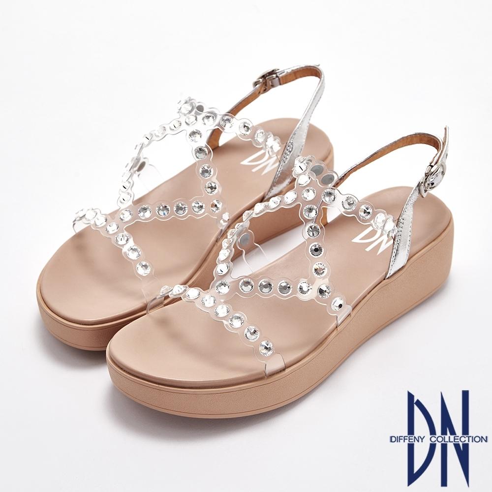 DN涼鞋_透視感線條水鑽交叉羅馬楔型涼鞋-銀