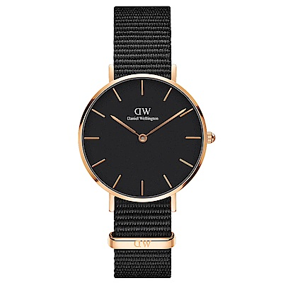 DW Daniel Wellington 典雅康沃爾黑NATO錶帶石英腕錶-金框/32mm