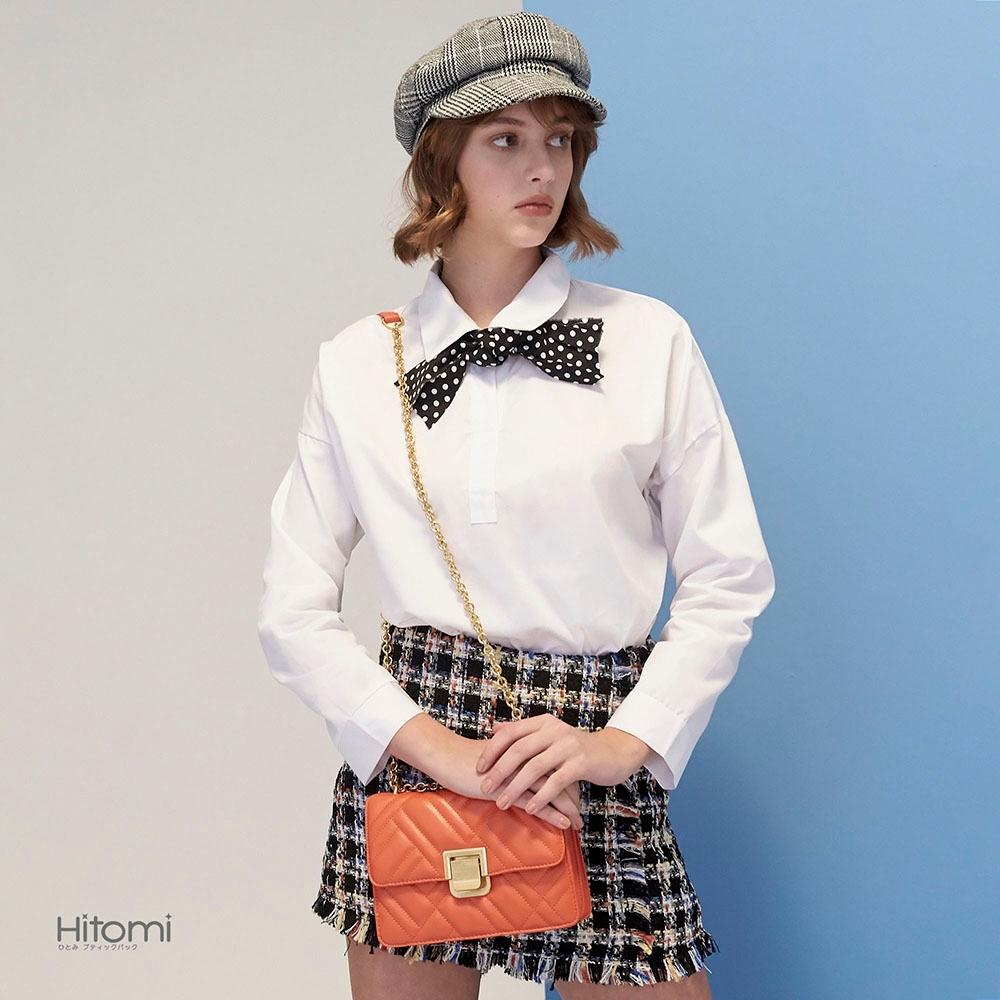 【Hitomi】時尚不規則格紋鍊帶包(巴黎橘53066OG)
