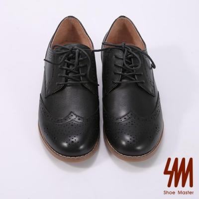 SM-素色花邊平底學院牛津鞋