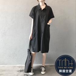 韓國空運 束帶造型翻領連身裙-2色-TMH
