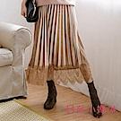 日系小媽咪孕婦裝-孕婦褲~優雅質感絨布拼接蕾絲百褶裙 M-L (共二色)