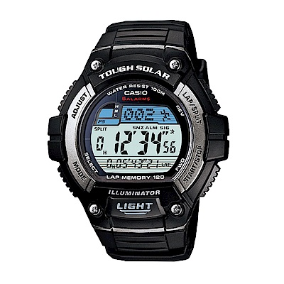 CASIO卡西歐 日系光動能多時區運動男錶(W-S220)-黑框/51.7mm