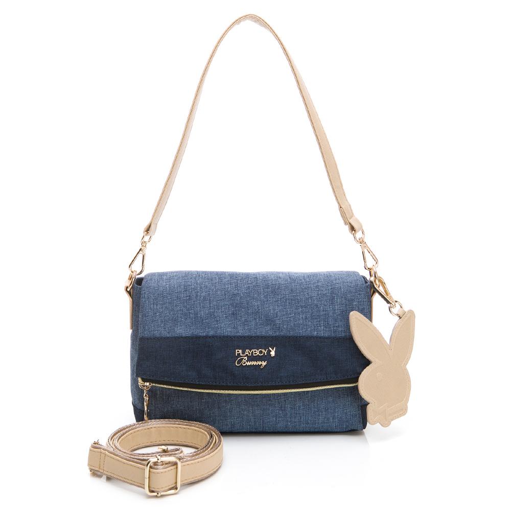 PLAYBOY-  斜背包附長短背帶 單寧世代系列 -藍色