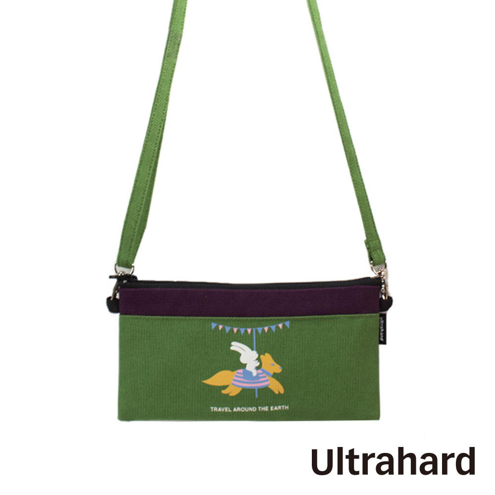 Ultrahard 月見兔斜背手機袋-騎木馬(綠紫)