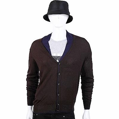 ARMANI COLLEZIONI 雙色羊毛衫混紡細絲開襟針織衫