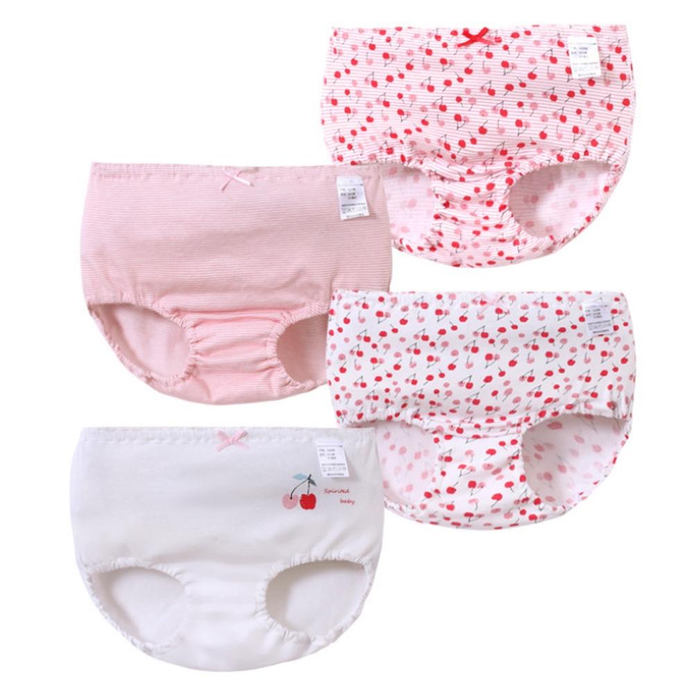 【優貝選】優質小櫻桃女童純棉透氣三角包屁小內褲四入組-白色組