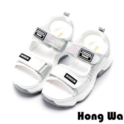 Hong Wa 時尚貼布設計牛皮厚底涼鞋 - 銀