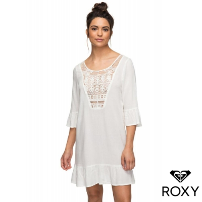 【ROXY】CACTI TAZIA 絲質刺繡挖背洋裝 白