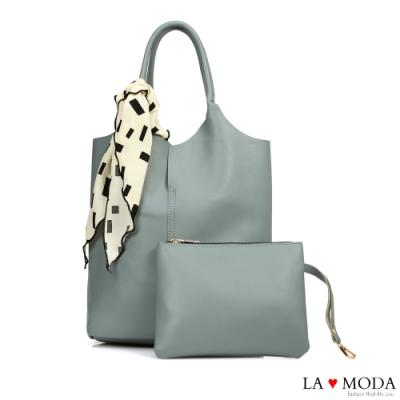 La Moda 時尚模特最愛質感百搭絲巾裝飾多背法肩背手提子母包(藍)