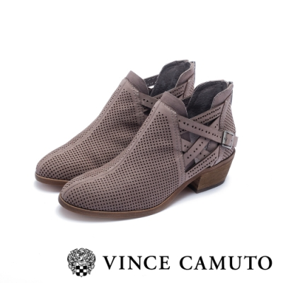 VINCE CAMUTO 側V字麂皮簍空交叉扣帶粗跟踝靴-絨灰色