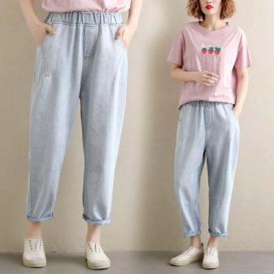 俏皮鬆緊腰寬鬆休閒淺藍牛仔褲L-2XL-Keer