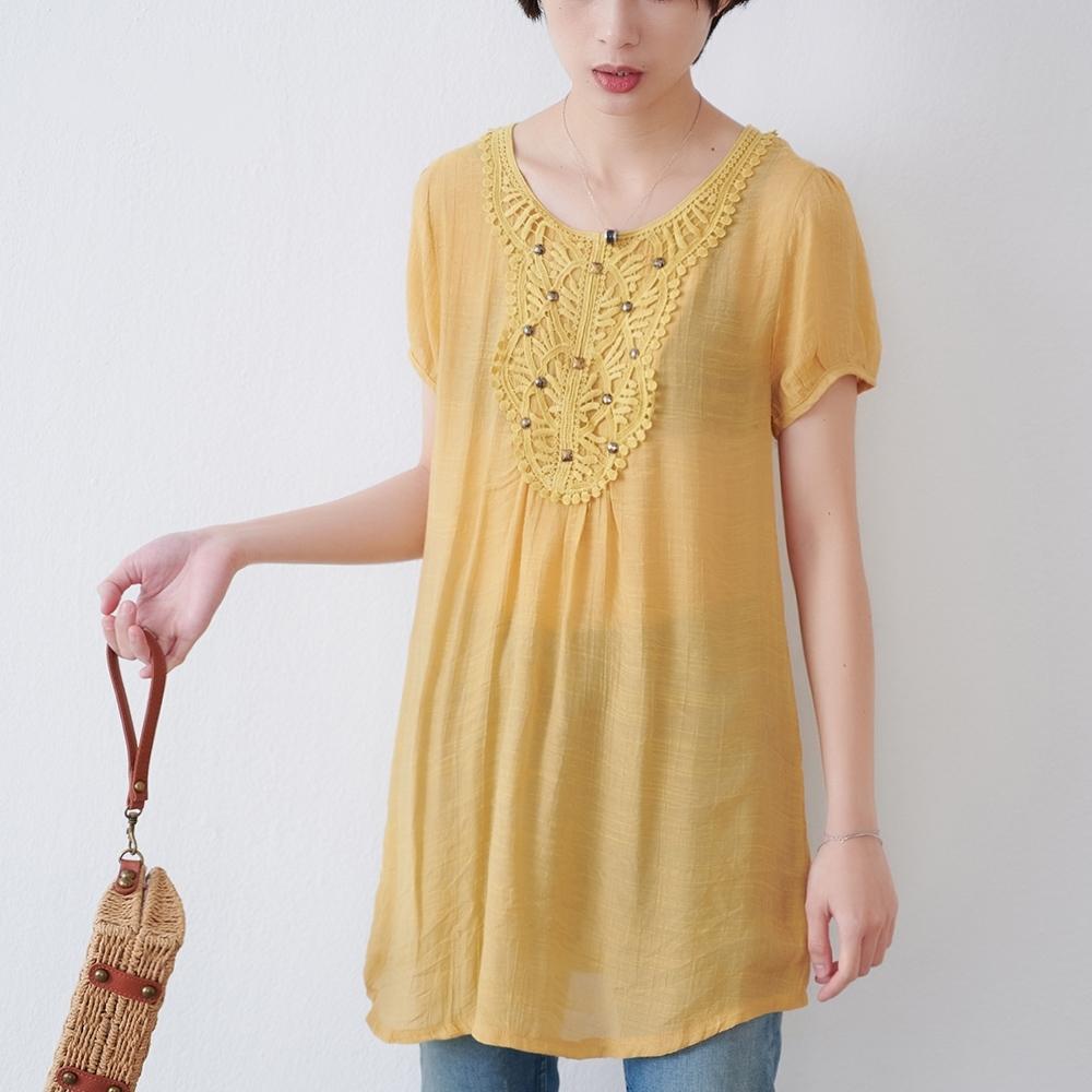 KT 立體蕾絲舒柔長版上衣- 黃色