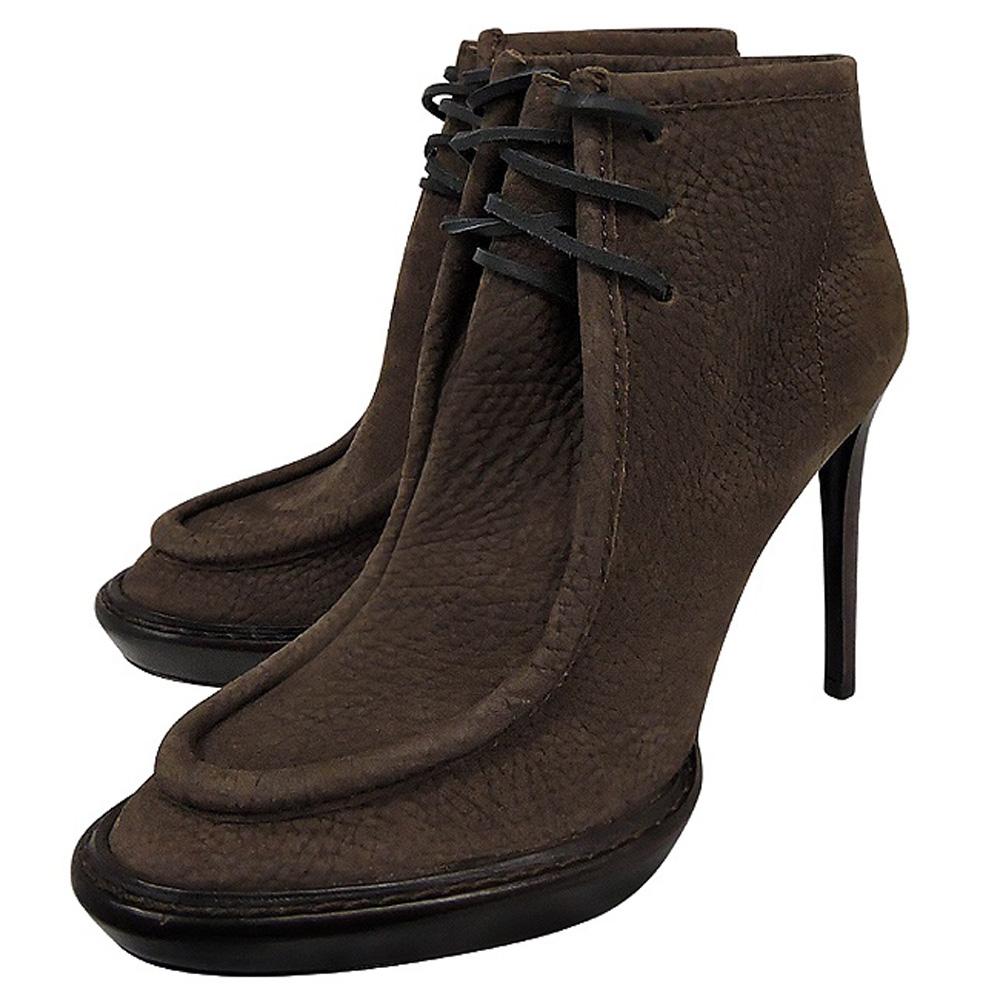 BURBERRY 巧克力色麂皮綁帶高跟短靴(35.5號)