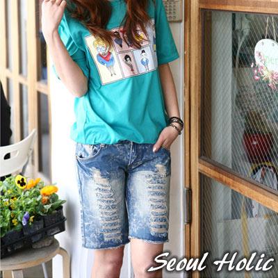 【Seoul Holic】個性貓鬚抓破刷色牛仔短褲(共二色)