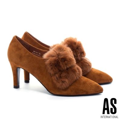 踝靴 AS 奢華暖意蓬鬆兔毛全真皮美型尖頭高跟踝靴-咖