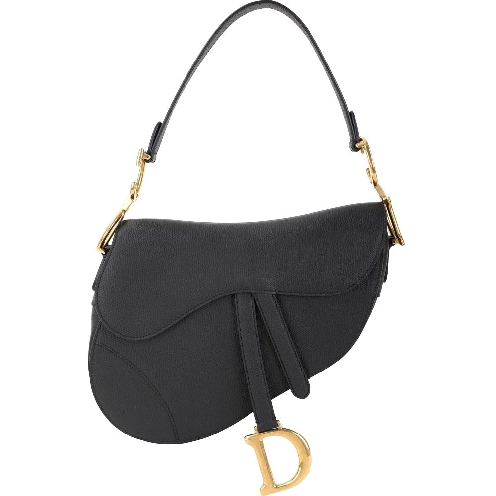 Dior Saddle 眾女星推薦款 粒面小牛皮馬鞍包(黑色)