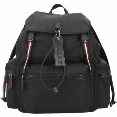BALLY CREW 大型 皮牌標誌紅白織帶尼龍後背包(黑色)