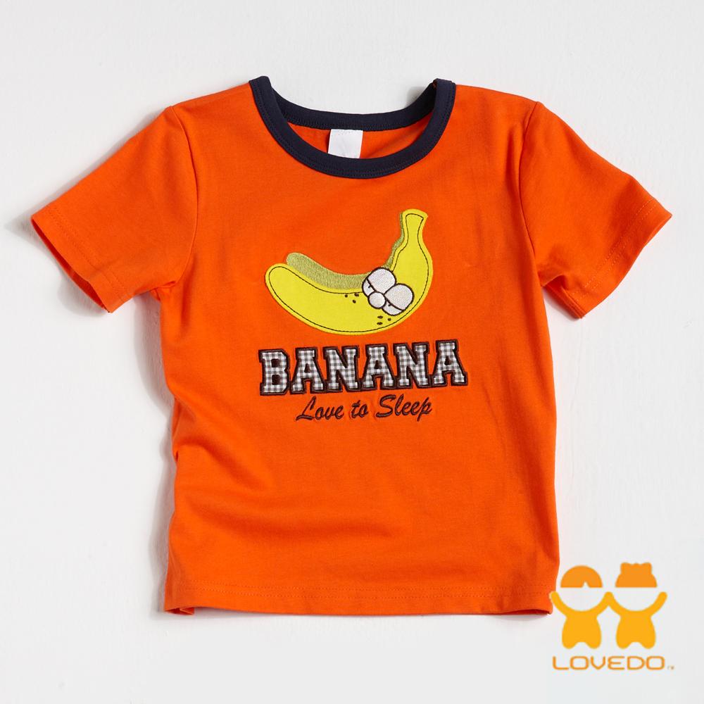 【LOVEDO-艾唯多童裝】愛睡覺香蕉 拼布短袖T恤 (橘)
