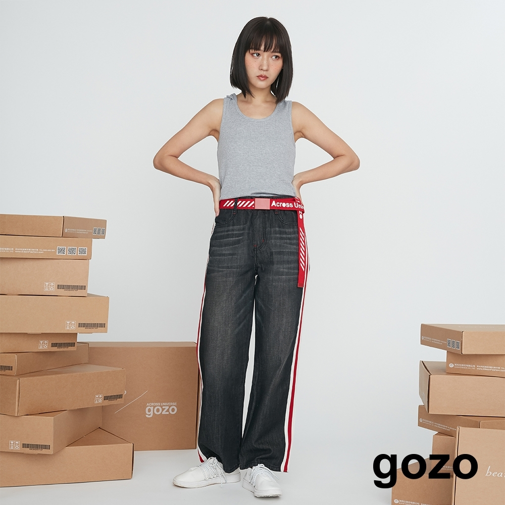 gozo-側織帶牛仔寬褲