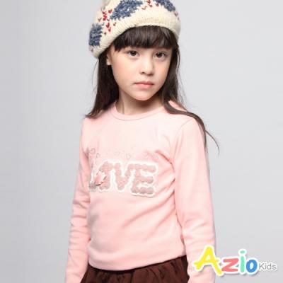 Azio Kids女童上衣 英文字母毛線珠珠立體玫瑰長袖上衣 (粉)