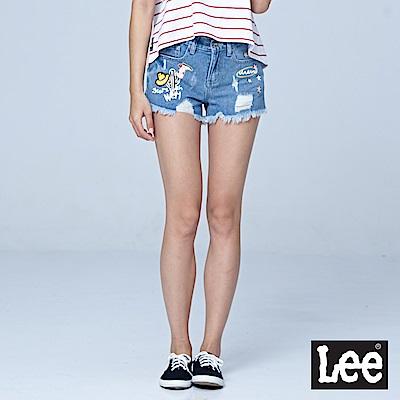 Lee 牛仔貼印童趣短褲-淺藍色-女短褲-LL18