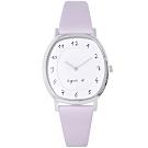 agnes b. 簡約手寫時標真皮手錶BJ5018X1-白X紫/31mm
