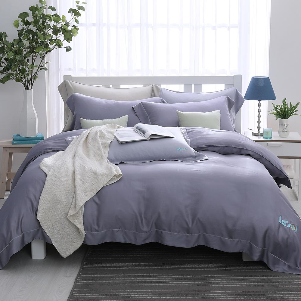 LASOL睡眠屋-100%奧地利天絲 加大兩用被床包四件組濛濛暮光