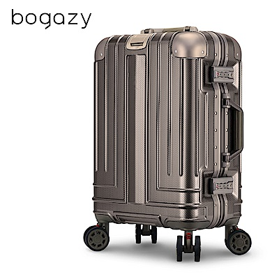Bogazy 權傾皇者 20吋菱格紋鋁框行李箱(香檳金)
