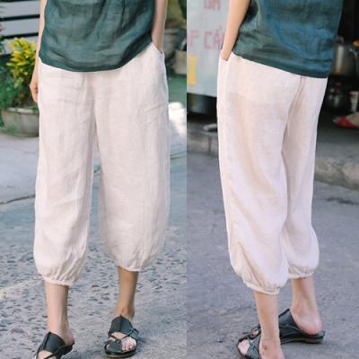 休閒褲-條紋色織亞麻燈籠薄版寬鬆九分棉麻-設計所在