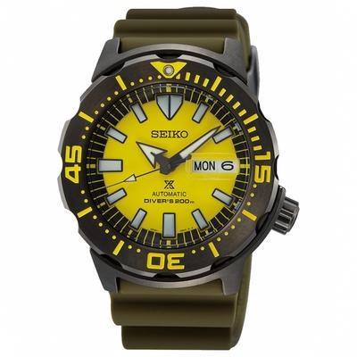 SEIKO精工 Prospex yellow monster怪獸潛水機械錶 4R36-08B0Y(SRPF35K1)-黃/42.4mm