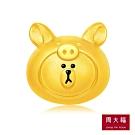周大福 LINE FRIENDS系列 小豬熊大Brown黃金串飾/串珠