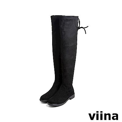 viina Basic 彈力低跟過膝靴 - 黑