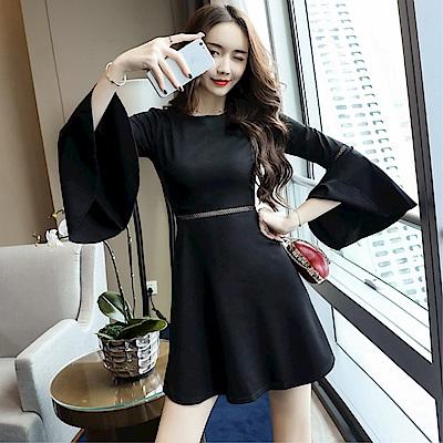 DABI 韓系氣質喇叭袖性感透視拼接時尚長袖洋裝